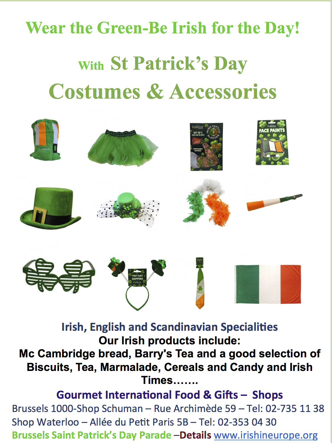St Patrick 2015  costumes and Accessories