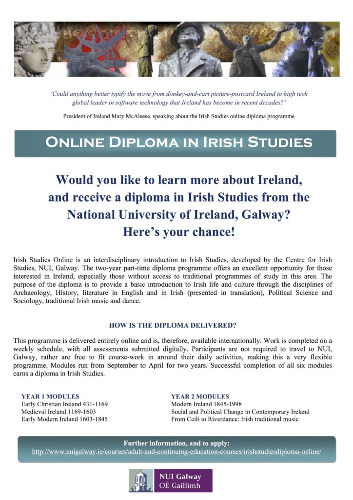 2016 Online Irish Studies UCG poster