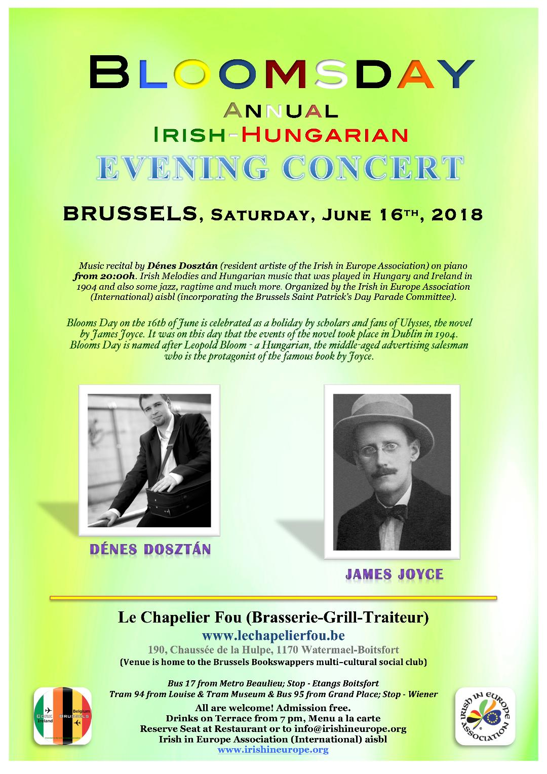 Bloomsday 7th Annual Irish Hungarian Concert in Brussels – 16 June